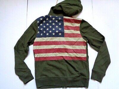 Ralph Lauren Denim and Supply Army Green  USA Flag  Cotton Hoodie Jacket slim