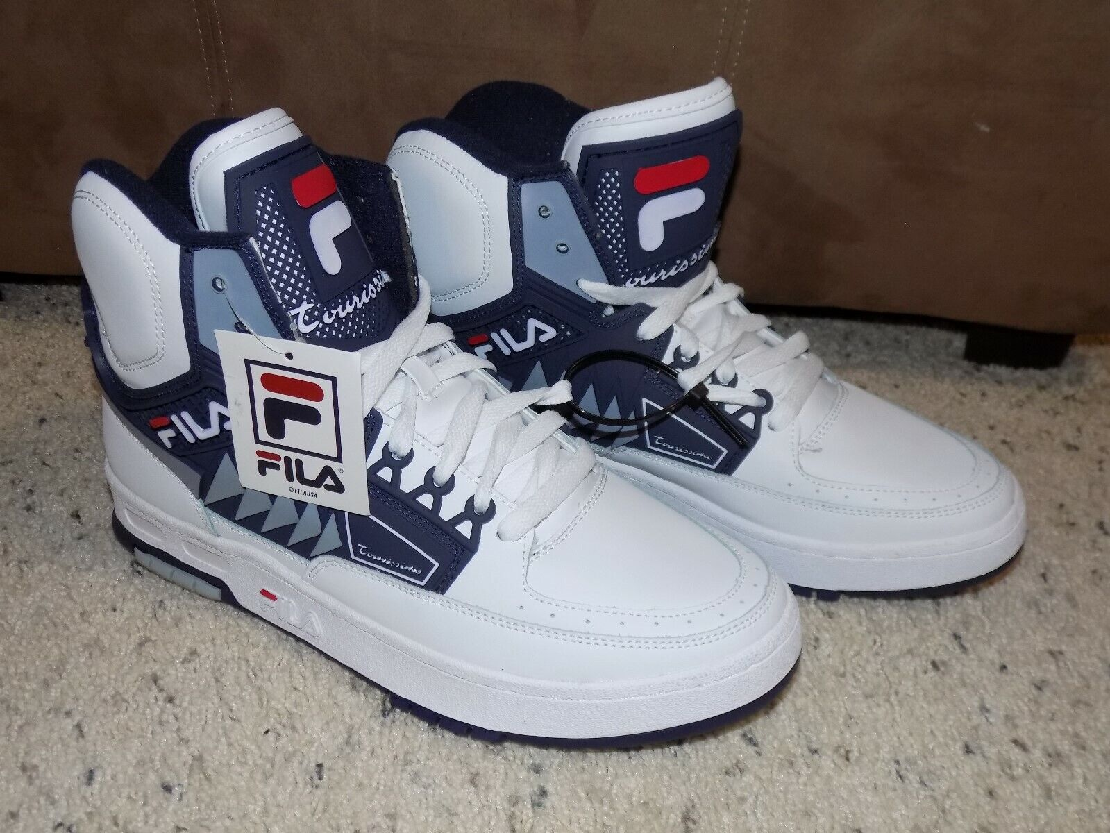 New w/ Tags Mens 10 Fila Tourissimo Limited Edition White & Blue High Top Shoes