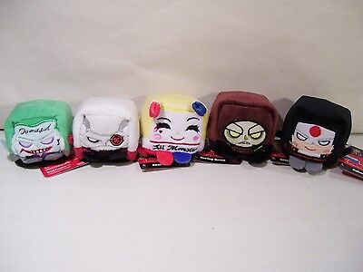 NEW LOT OF 5 DC COMICS SUICIDE SQUAD KAWAII CUBE BEAN PLUSH HARLEYJOKER CROC