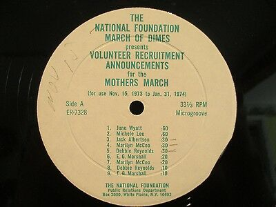 "12"" PSA March Of Dimes Mothers March Debbie Reynolds/Jane Wyatt/EG Marshall"
