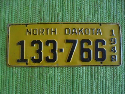 1948 North Dakota License Plate ND 48 Tag 133-766