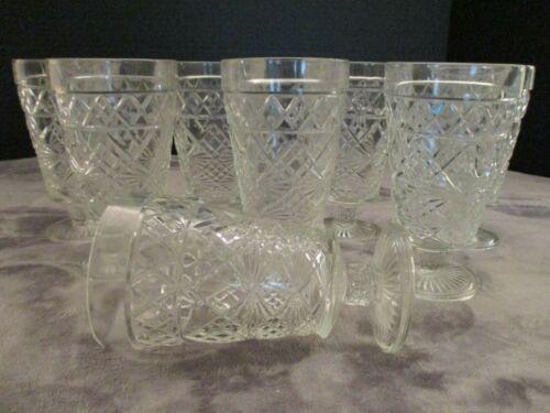 "Vintage Pressed Glass 8 Iced Tea Goblets Footed Tumblers Diamond Designs 5 3/4"""