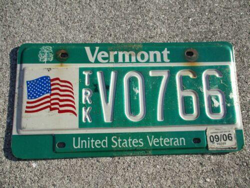 Vermont  2006 TRK Veteran  license plate  #  V 766
