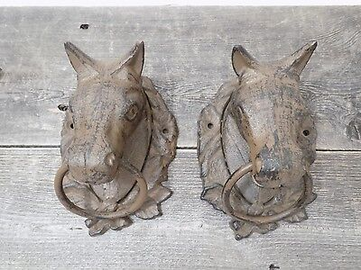 2 Large CAST IRON Horse Heads Head Ring Hitching Post Barn Holder Decor Bathroom