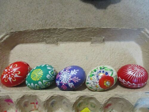 Vintage Hand Painted Real Egg Shell Easter Decorations - Set of 5
