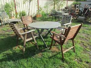 Old Grey Round Timber Table with 4 Chairs