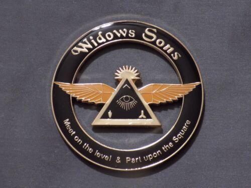 "Masonic 3"" Car Emblem Widows Sons Freemason Fraternity Metal Wings Eye NEW!"
