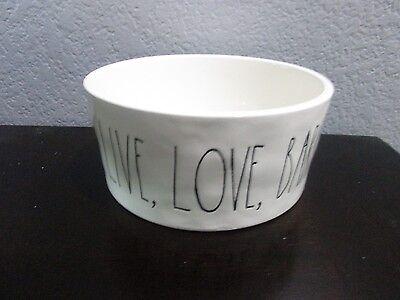 Rae Dunn Magenta Artisan Dog Bowl LIVE, LOVE, BARK Ceramic Bowl
