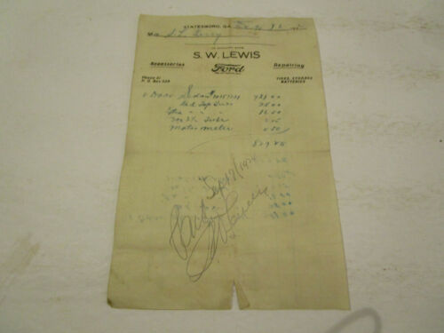 Purchase receipt for 1924 Ford Model T  Car 1924 S. W. Lewis Statesboro Ga Ford