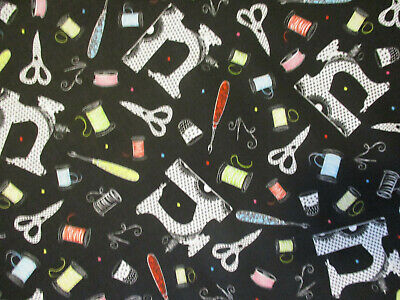 RETRO SEWING MACHINES SEW ITEMS SCISSORS BLK DIGITAL PRINTING COTTON FABRIC BTHY for sale  Shipping to India