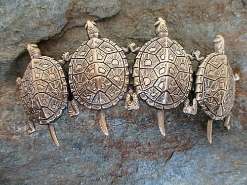Antiqued Brass 4 Turtle French Clip Hair Barrette Made in USA 6058B New