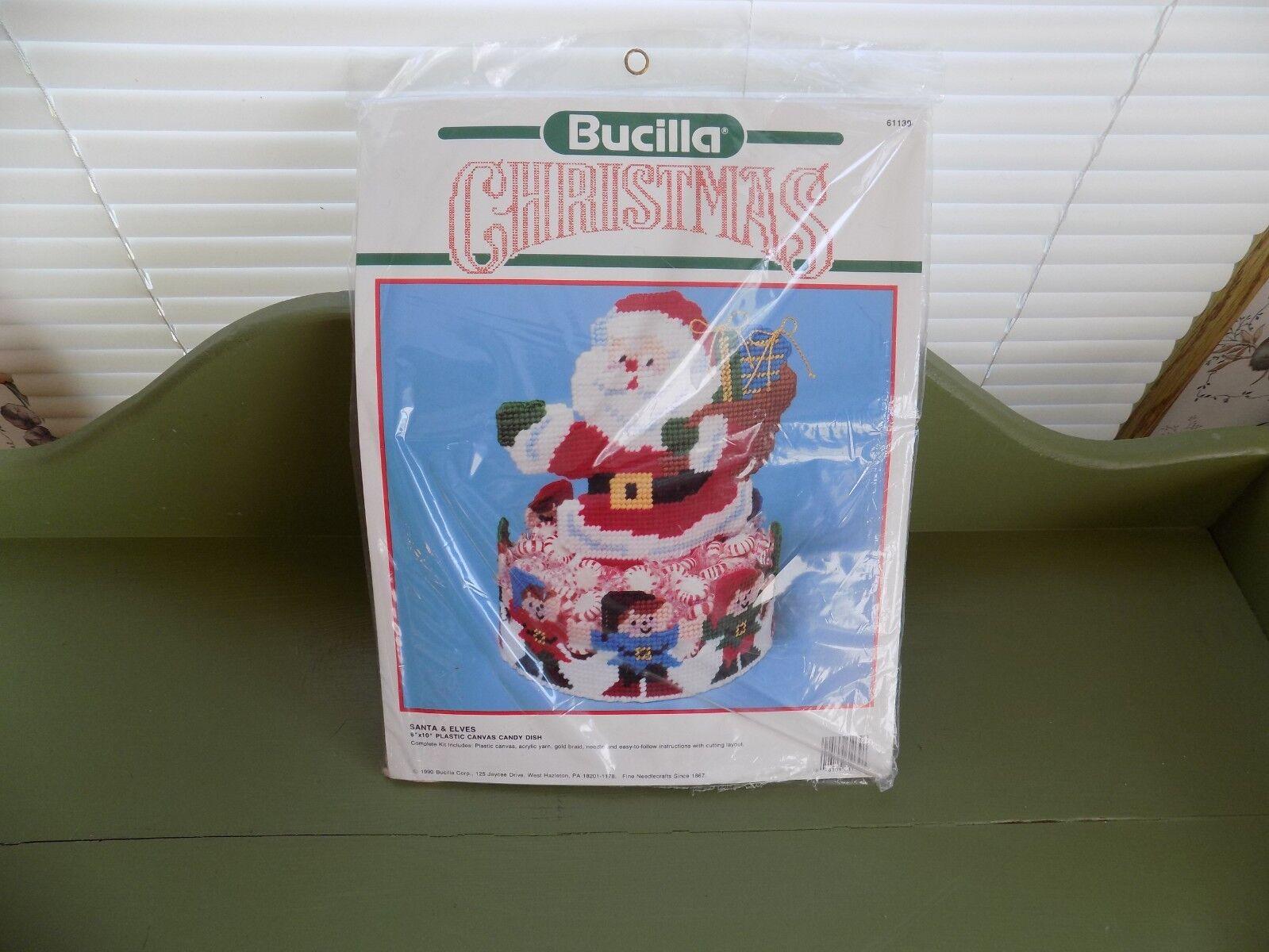 Bucilla Christmas Santa & Elves Candy Dish Plastic Canvas Kit 61139 NEW
