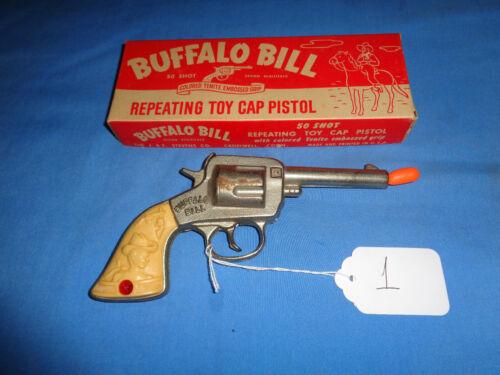 J.&E. Stevens Buffalo Bill Cap Gun with Original Box. Working.