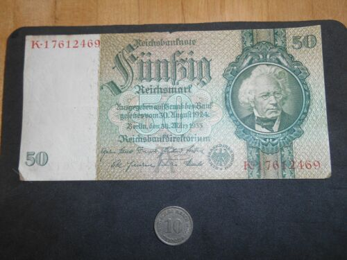 GERMANY CIRCULATED 1933  50 REICHSMARK BANKNOTE PAPER MONEY+ Coin
