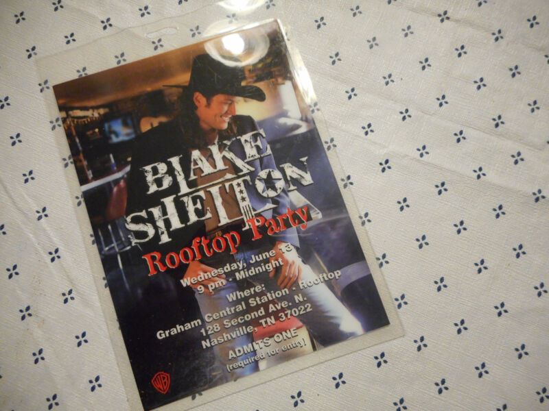 Blake Shelton Rooftop Party Admission Laminate Pass