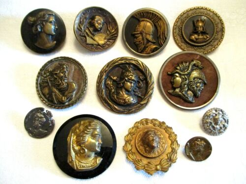 12 OF THE BEST Antique PEOPLE / FACE Victorian PICTURE CLOTHING BUTTONS - LARGE!
