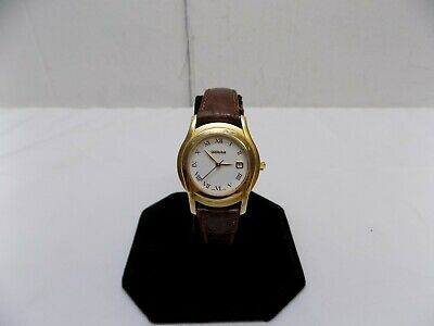 Gucci Gold Tone Stainless Steel Leather Band Women's Watch 5400L - New Battery