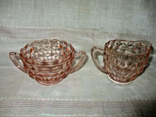 Jeanette Cubist Pink Depression Glass Cream & Sugar Set