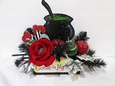 HALLOWEEN Floral Centerpiece Arrangement Red Apples Cauldron Tabletop Decor 17