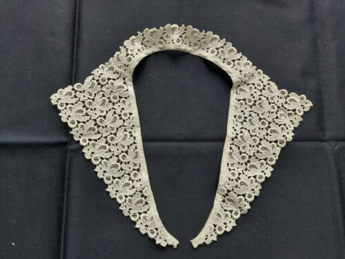Antique Beautiful Vintage VICTORIAN Handmade Belgian Lace Collar White
