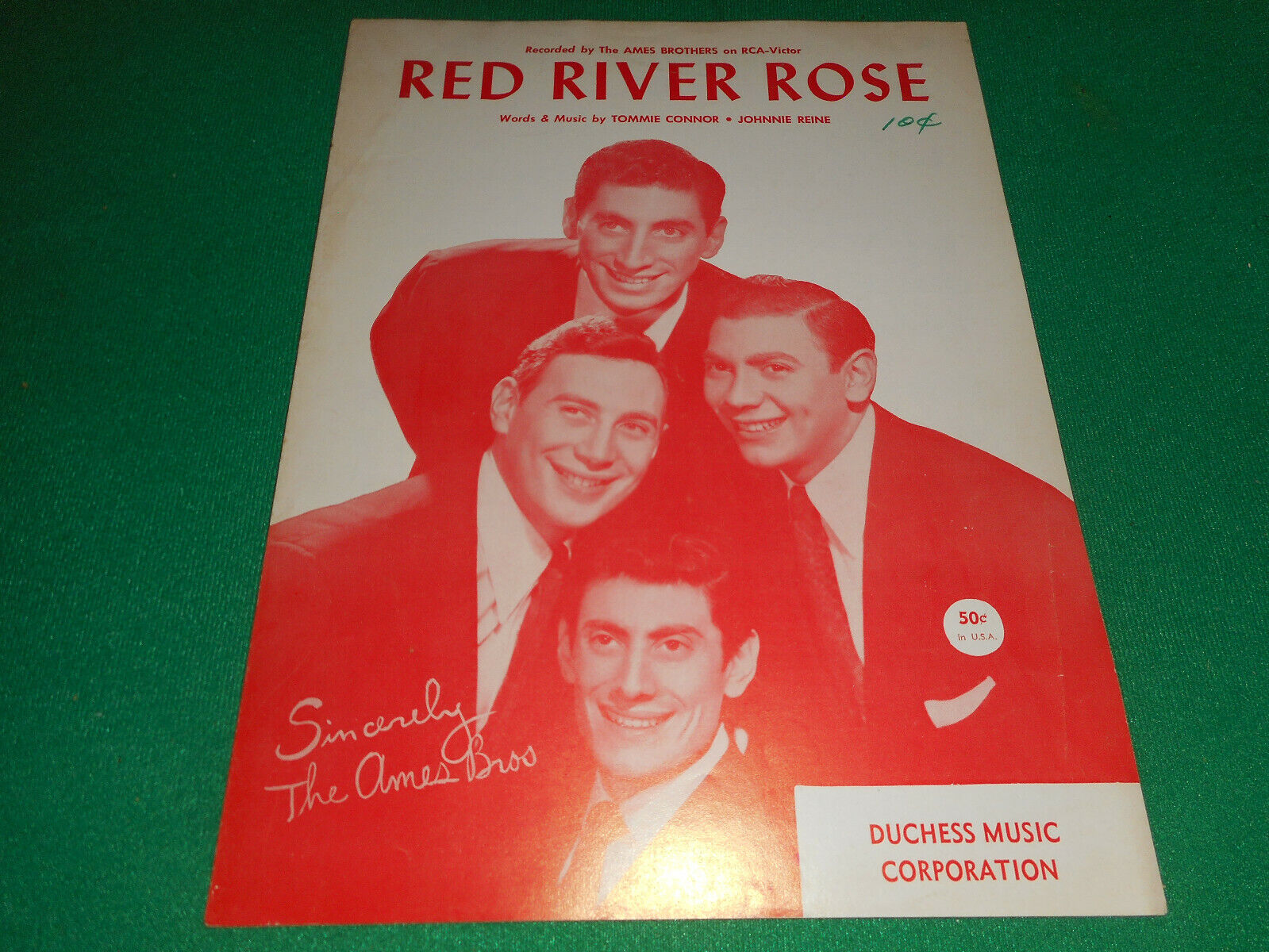 Red River Rose Ames Brothers 1958 Sheet Music - $3.99