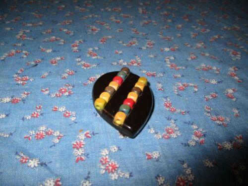 Vintage Bakelite Sweater / Shoe Clip   Multicolor on Black  1 7/8 Inch High