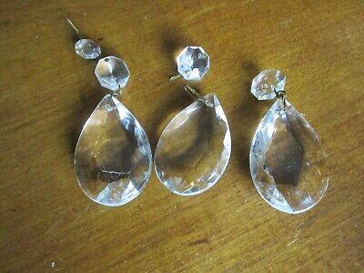 Stunning Victorian 3 heavy cut glass chandelier pear shaped drops