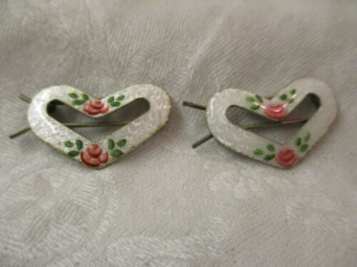 Vintage pair Guilloche Enamel Heart shaped Barrettes with pink Roses