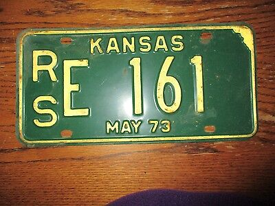 May 1973 Kansas License Plate Car Tag Rse 161
