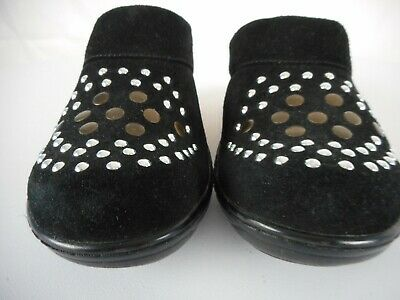Black suede Soft Walk clogs with silver & brass embellishment-sz - Softwalk Suede Clogs