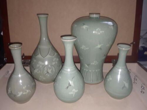 4 Vtg Korean antique Vases flying cranes
