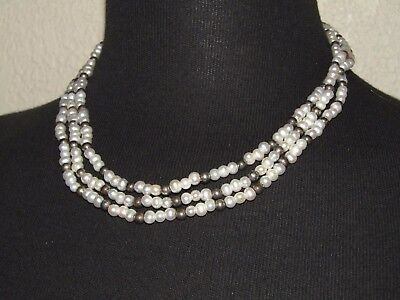 """Vintage Multi Strand 5mm Freshwater Pearls & Sterling Silver Beads Necklace 18"""""""