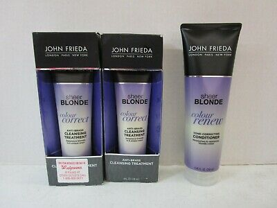 3 JOHN FRIEDA SHEER BLONDE COLOR RENEW CONDITIONER &CLEANSING TREATMENT MM