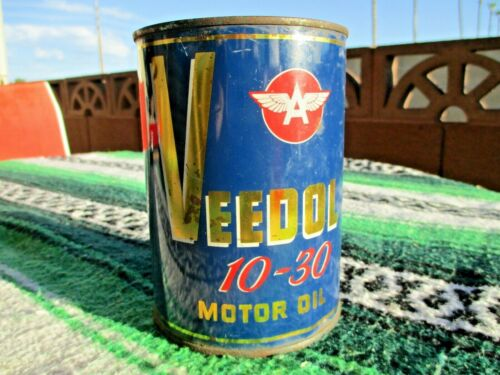 Vintage! Veedol Flying A 10-30 Motor Oil Can Tide Water Associated Oil Company