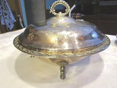 Vintage silverplate Wm. Rogers Footed Serving Bowl with Glass Insert - HYMLOT