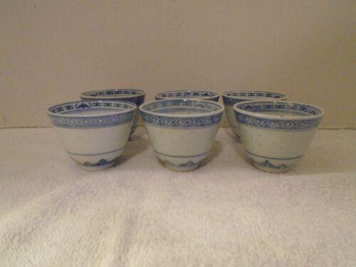 6 Vintage Chinese  Rice Eye Tea/Sake Cups White and Blue