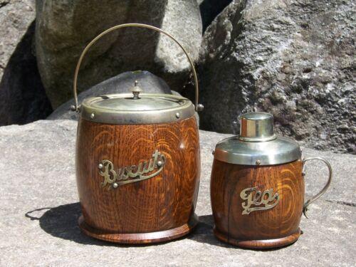 Mid-century Modern Solid Oak Tea Caddy and Biscuit Barrel Jar Vintage Antique