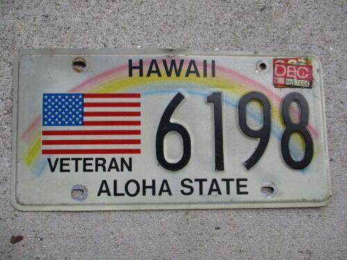 Hawaii  2000 Veteran license plate #  6198