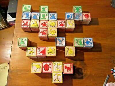 ANTIQUE 31 ABC WOOD TOY CHILDREN'S LOT OF ANIMAL & FIGURINE BLOCKS