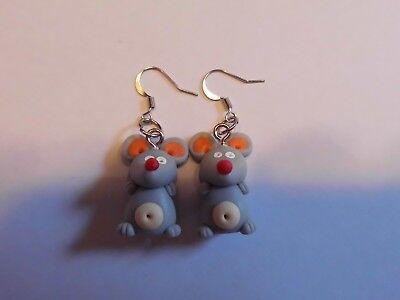 Ohrring mit kleine graue Maus orangen Ohren filigrane - Graue Maus Ohren