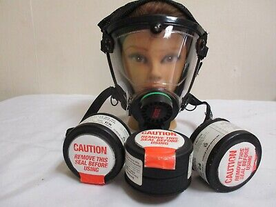 Scott-o-vista- Never Use-complete-full Face Gas Maskrespirator With 3-filters