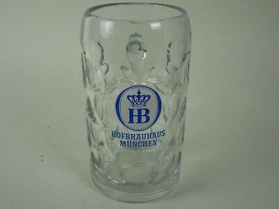 1 Liter HB Hofbrauhaus Munchen Dimpled Glass Beer Stein Mug Hofbrau