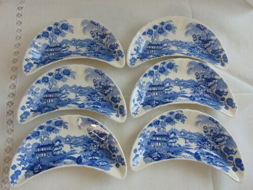 Vintage CROWN DEVON FIELDINGS Blue/White Transferware Bone Dishes 6pcs