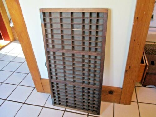 ANTIQUE PRINTERS TYPE TRAY LETTERPRESS WOOD CABINET DRAWER CURIOS DISPLAY