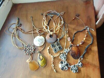 Selection of **9 PENDANT NECKLACES** Hippy Large Brown Black  for sale  Shipping to Nigeria
