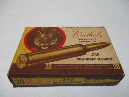 Vintage Weatherby .340 Weatherby Magnum Cartridge Shell Box
