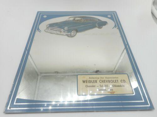 Vintage WEIDLER CHEVROLET CHEVY OLDSMOBILE CAR SUMNER IA ADVERTISING MIRROR SIGN