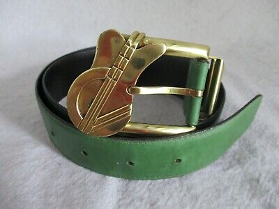 Gianni Versace vintage 80s 90s green leather logo guitar buckle jeans belt 75 30