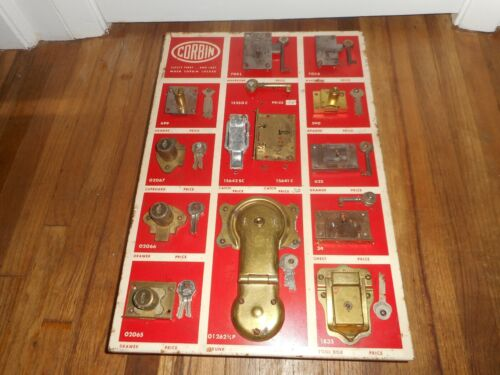 Vintage 1940s CORBIN Hardware Store Lock & Key Advertising Display w Many extras