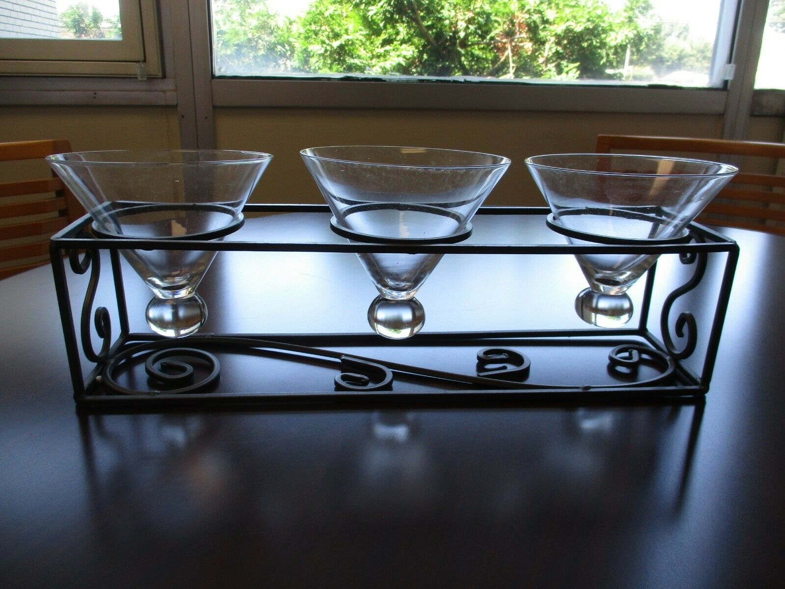 Home Expressions Prestige Triple Server Wrought Iron & Crystal New In Box